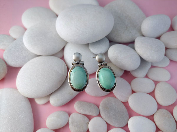 Ethnic Sterling silver earrings with Turquoises.. Foto 1