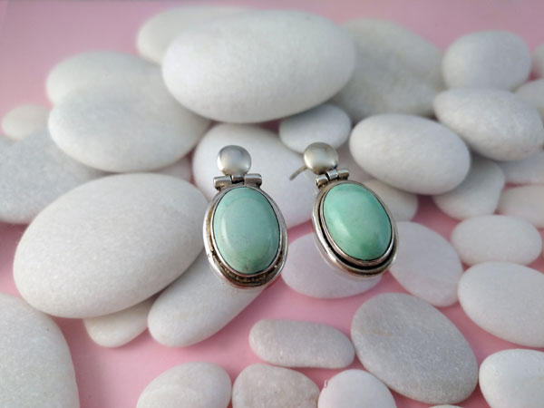 Ethnic Sterling silver earrings with Turquoises.. Foto 2