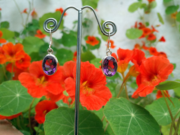 Namibia Amethyst and Sterling silver earrings.. Foto 2