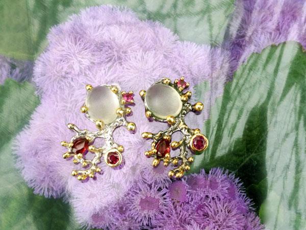 Sterling silver and gemstones earrings.. Foto 1