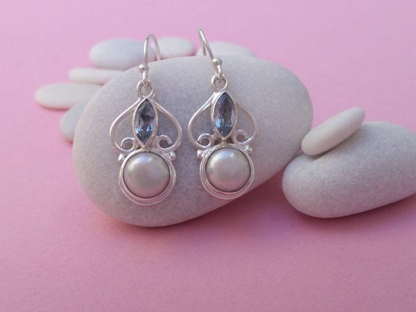 Pendientes de plata de ley con perlas y aguamarinas.. Ref. TNS