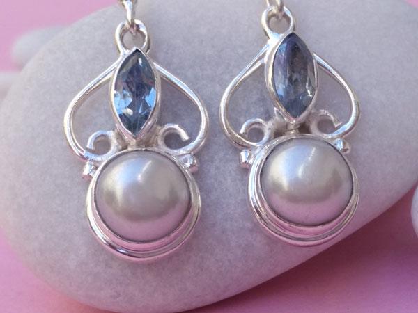 Pendientes de plata de ley con perlas y aguamarinas.. Foto 3