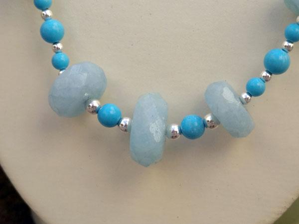 Collar de plata con Aguamarinas y Turquesas.. Foto 4