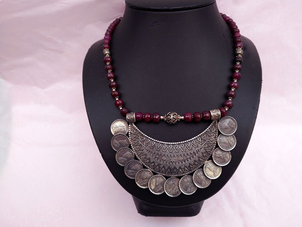 """Ethnic Sterling silver and purple ruby """"balaj"""" necklace.. Foto 2"""