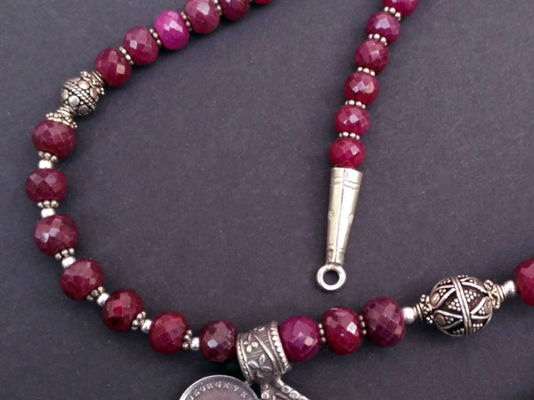 "Ethnic Sterling silver and purple ruby ""balaj"" necklace.. Foto 5"