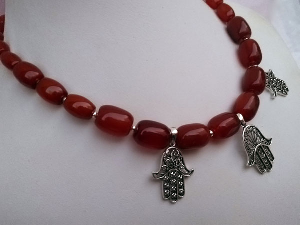 Ethnic silver and carnelian agate necklace.. Foto 2