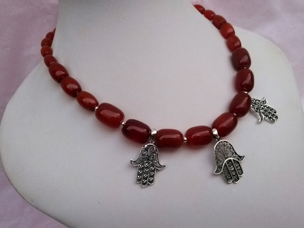 Ethnic silver and carnelian agate necklace.. Foto 3