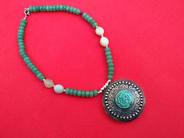Collar de plata y cuarzo verde Aventurina.. Foto 4