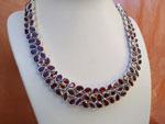 Faceted Garnet gemstones and Sterling silver necklace.. Ref. TRI