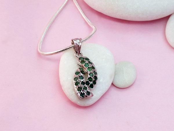 Colgante de plata y gemas de Esmeralda.. Ref. TWD