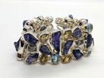 Silver bracelet with Tanzanite and Topaz gems.. Ref. TXW