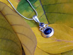 Ethnic silver pendant with amethyst and kyanite gems.. Ref. TZU